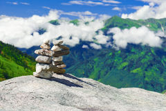 Two stones pyramid at mountains Royalty Free Stock Image