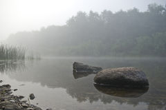 Two stones in the river at the coast in fog Stock Photos