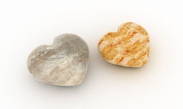 Two stones in shape of hearts Stock Photography