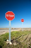 Two stop traffic signs Royalty Free Stock Photography