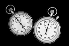 Two stopwatch on black Royalty Free Stock Photo