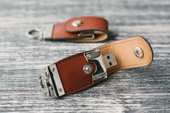 Two storage devices with leather covering royalty free stock photography