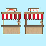 Two stores with plates Royalty Free Stock Image