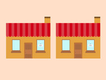 Two stores with plates. At bacground Royalty Free Stock Photo
