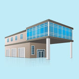 Two-storey car service with offices in perspective Royalty Free Stock Photography