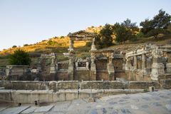 The two-storey height of about 12 meters Fountain of Trajan ancient city of Ephesus. Royalty Free Stock Photos