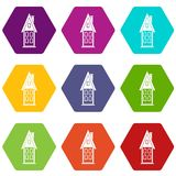 Two storey house with attic icon set color hexahedron Stock Photo