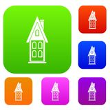 Two storey house with attic set collection Royalty Free Stock Photography