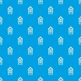 Two-storey house with balconies pattern seamless blue. Two-storey house with balconies pattern repeat seamless in blue color for any design. Vector geometric Royalty Free Stock Photos