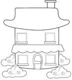 Two storey house with a chimney coloring page Royalty Free Stock Photo