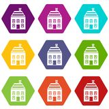 Two-storey house with chimney icon set color hexahedron. Two-storey house with chimney icon set many color hexahedron isolated on white vector illustration Stock Images