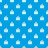 Two-storey house with chimney pattern seamless blue. Two-storey house with chimney pattern repeat seamless in blue color for any design. Vector geometric Stock Photos