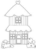 Two storey house coloring page Stock Images