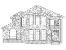 Two-storey house coloring vector. Two-storey house coloring book vector illustration. Anti-stress coloring for adult cottage. Zentangle style. Black and white royalty free illustration