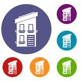 Two-storey house icons set Royalty Free Stock Images