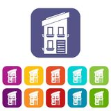 Two-storey house icons set. Vector illustration in flat style in colors red, blue, green, and other Stock Images