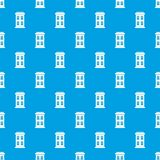 Two-storey house with large windows pattern seamless blue Royalty Free Stock Photo
