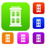 Two-storey house with large windows set collection Royalty Free Stock Image