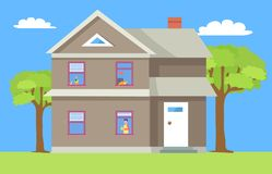 Two Storey House Man in Window with Cup of Coffee. Vector cottage with chimney. Cat sleeping on windowsill, flower in pot, dwelling on lawn, green trees vector illustration