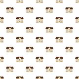 Two storey house pattern. Seamless repeat in cartoon style vector illustration Stock Photography