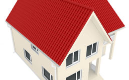 Two-storey house with a red roof Royalty Free Stock Photo