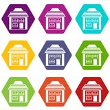 Two-storey house with sloping roof icon set color hexahedron. Two-storey house with sloping roof icon set many color hexahedron isolated on white vector Stock Images