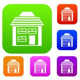 Two-storey house with sloping roof set collection Royalty Free Stock Photography