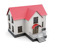 Two-storey house  on white background. 3d rendering Royalty Free Stock Photos