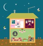Two-storey huis in besnoeiing Leuk huisbinnenland met meubilair De scène van de nacht Stock Fotografie