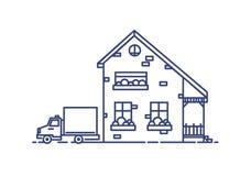 Two-storey huis in de voorsteden die met portiek met bakstenen wordt gebouwd en vrachtwagen naast het wordt geparkeerd Woningbouw Stock Fotografie