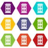 Two-storey huis met de grote vastgestelde kleur van het vensterspictogram hexahedron Royalty-vrije Stock Afbeeldingen