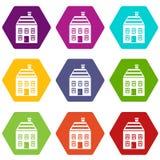 Two-storey huis met de vastgestelde kleur van het schoorsteenpictogram hexahedron Stock Afbeeldingen