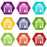 Two-storey huis met het hellen de vastgestelde kleur van het dakpictogram hexahedron Stock Afbeeldingen