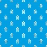 Two-storey huis met het naadloze blauw van het balkonspatroon Royalty-vrije Stock Foto's