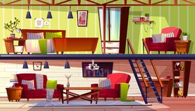 Two storey loft rooms interior vector illustration. Loft lounge or two storey room interior vector illustration of bedroom and cabinet. Modern cozy spacious vector illustration