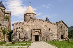 Two-storey narthex with a visible dome of the Church of Gregory the Illuminator,Goshavank Monastery in the village of Gosh, near t. Dilijan, Armenia, August 24 stock image