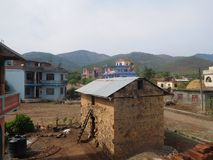 Two-storey Nepali House Royalty Free Stock Images