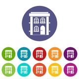 Two-storey residential house set icons Stock Image