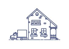 Two-storey suburban house with porch built with bricks and lorry parked beside it. Residential building drawn with blue Stock Photography