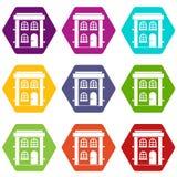 Two-storey woon vastgestelde kleur van het huispictogram hexahedron Royalty-vrije Stock Afbeelding