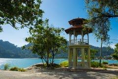 Two-storeyed pavilion near Andaman sea Stock Photos