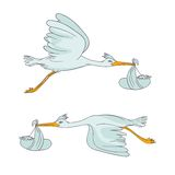 Two stork flying with children Royalty Free Stock Images