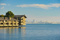 Two story apartment building on the water Stock Image