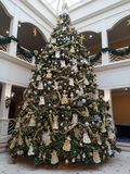 Two Story Christmas Tree. An image of a two story Christmas Tree loaded with decorations Stock Photo