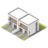 Two story connected cottage with flat roof isometric icon set Royalty Free Stock Image