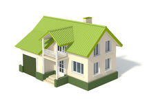 Two story house with a green roof and garage Stock Images