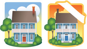 Two-Story House Illustrations. Stately two-story house and grounds. One version features a blank banner for addition of your text. Editable  art with elements on Stock Photo