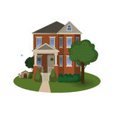 Two story house with a porch. On an isolated background Royalty Free Stock Photos