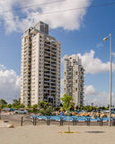 Two 18-story modern residential buildings. Rishon LeZion, Israel-May 28, 2016: Two modern eighteen story apartment residential buildings located at Golda Meir Stock Images