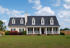Two Story Residential Home. Board siding on the facade Stock Images